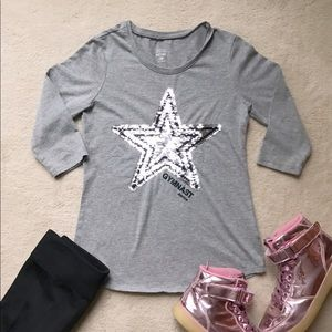 Justice Active Gymnast Sequin Star Long Sleeve Top